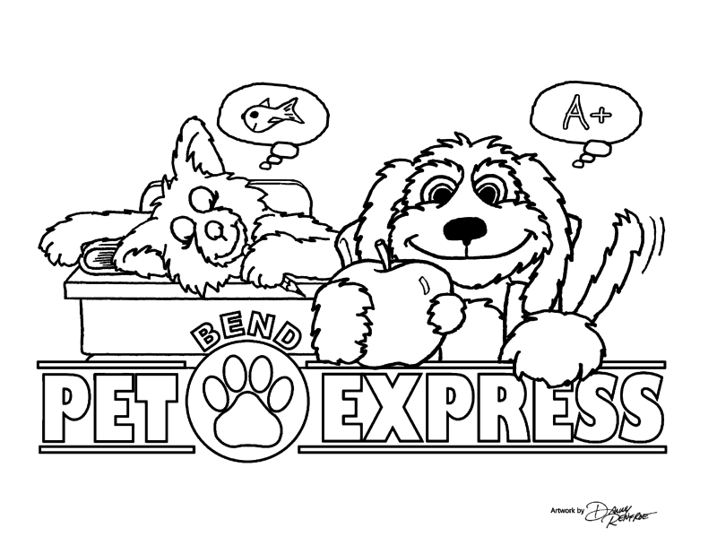 Back to School Coloring Cartoon | Bend Pet Express